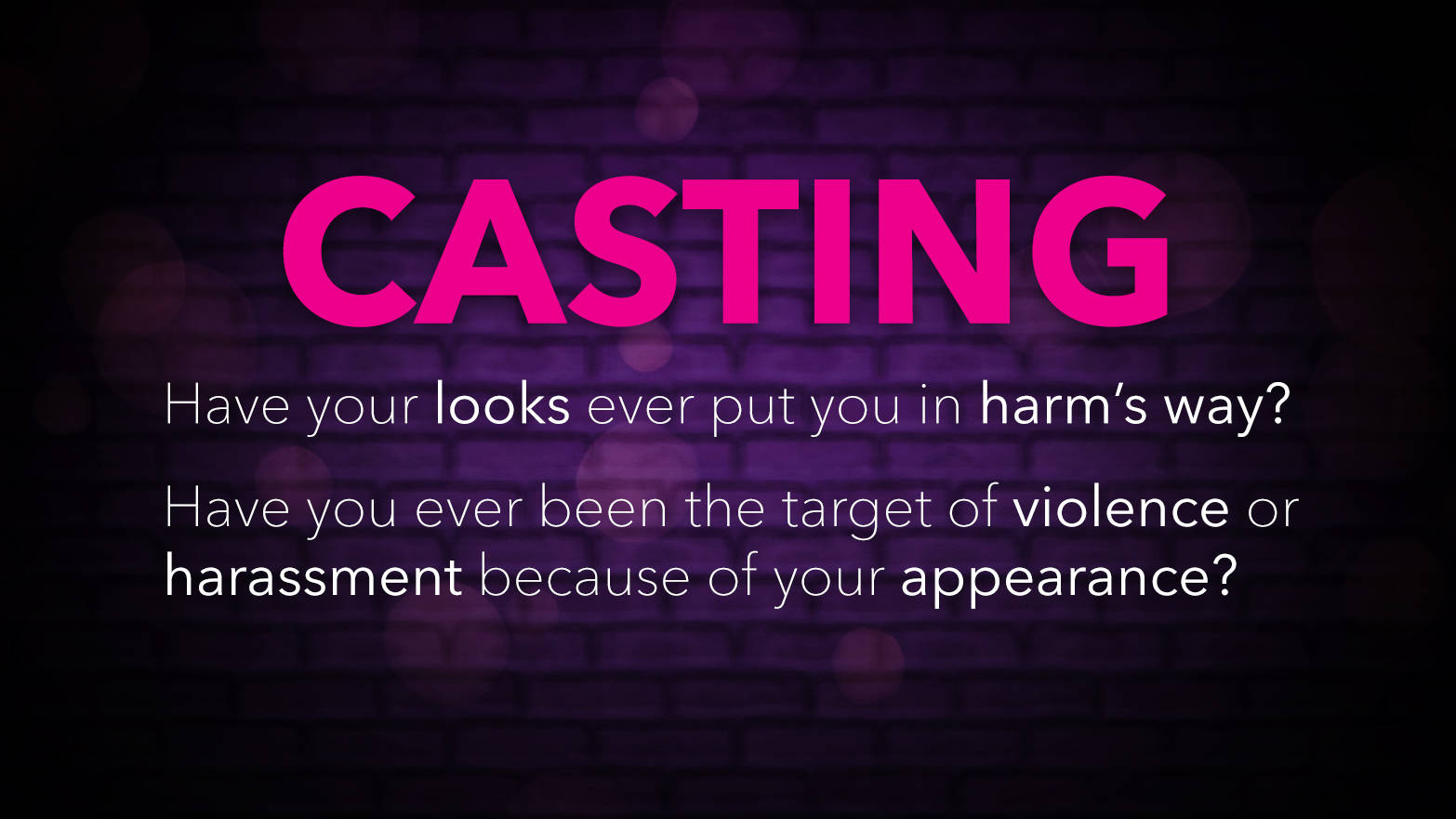 Have your looks ever put you in harm's way? Have you been the target of violence or harassment because of your appearance?